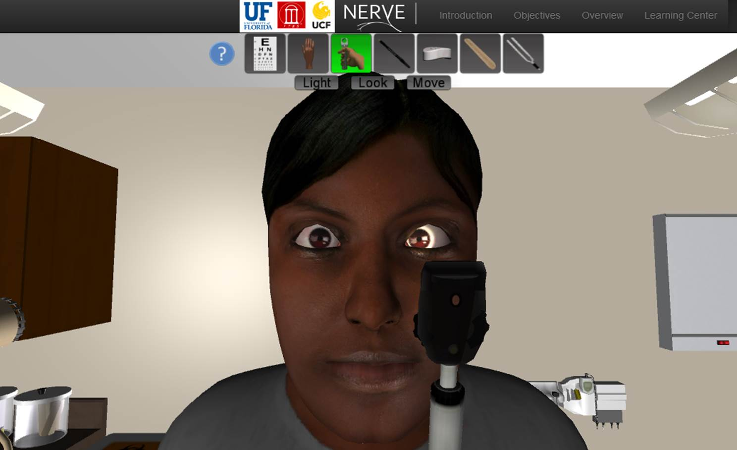 Interact with virtual patients suffering from cranial nerve disorders.
